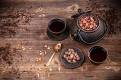 Juego de té asiático del estilo del hierro Fotos de archivo libres de regalías