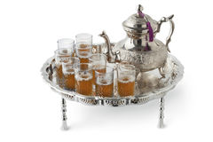 Juego de té de plata marroquí festivo tradicional Fotografía de archivo