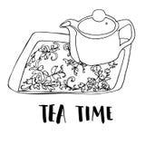 Juego de té dibujado a pulso gráfico Imagenes de archivo