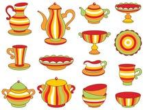 Juego de té (ejemplo del vector) Foto de archivo libre de regalías