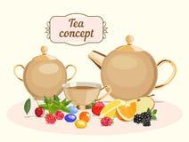 Juego de té: pote del té, cuenco de azúcar, taza de té Ilustración del vector stock de ilustración