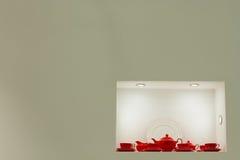 Juego de té rojo fresco Imágenes de archivo libres de regalías