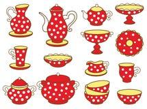 Juego de té (ejemplo del vector) Imagen de archivo libre de regalías