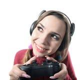 Juego de video divertido del juego de la muchacha Fotografía de archivo libre de regalías