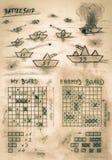Juego del acorazado de la sepia del bosquejo de la mano en el mar imagen de archivo libre de regalías