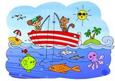 Juego del barco de los pescados Foto de archivo libre de regalías