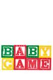 Juego del bebé - bloques del bebé del alfabeto en blanco Foto de archivo libre de regalías
