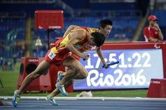Juego 2016 del Brasil - de Rio De Janeiro - de Paralympic atletismo de 400 metros Imágenes de archivo libres de regalías