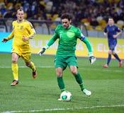 Juego 2014 del calificador del mundial de la FIFA Ucrania contra Francia Imagen de archivo libre de regalías