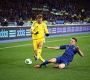 Juego 2014 del calificador del mundial de la FIFA Ucrania contra Francia Foto de archivo libre de regalías