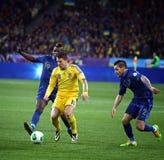 Juego 2014 del calificador del mundial de la FIFA Ucrania contra Francia Fotos de archivo libres de regalías