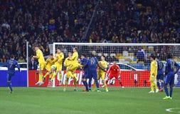 Juego 2014 del calificador del mundial de la FIFA Ucrania contra Francia Fotografía de archivo