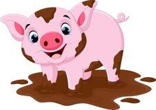 Juego del cerdo de la historieta en un charco de fango Fotografía de archivo