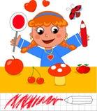 Juego del color: muchacha con los objetos rojos Imagen de archivo libre de regalías
