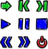 Juego del contorno del color de la etiqueta de plástico de los iconos del Web del vector Foto de archivo libre de regalías