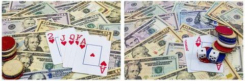 Juego del efectivo de las tarjetas de fichas de póker Imágenes de archivo libres de regalías