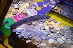 Juego del empujador de la moneda Imágenes de archivo libres de regalías