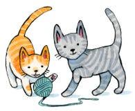 Juego del gatito Foto de archivo libre de regalías