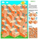 juego del laberinto 3d con las escaleras y las escaleras Imagen de archivo libre de regalías