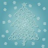 Juego del laberinto de la forma del árbol de navidad Imágenes de archivo libres de regalías