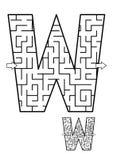 Juego del laberinto de la letra W para los niños Foto de archivo libre de regalías