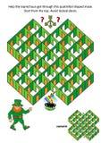Juego del laberinto de los cuartos y de las puertas de día del ` s de St Patrick - duende y mina de oro ilustración del vector