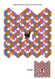 Juego del laberinto de los cuartos y de las puertas de Halloween con el gato negro stock de ilustración