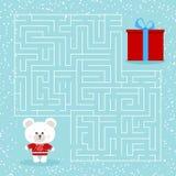 Juego del laberinto para los niños con un oso polar y un regalo de la Navidad de la historieta del laberinto ilustración del vector
