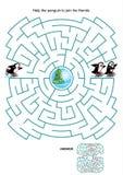 Juego del laberinto para los niños - pingüinos patinadores stock de ilustración