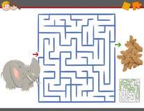 Juego del ocio del laberinto con el elefante ilustración del vector