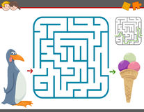 Juego del ocio del laberinto con el pingüino stock de ilustración