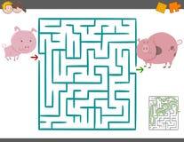 Juego del ocio del laberinto con los cerdos ilustración del vector