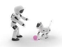 Juego del robot con el perro Fotografía de archivo