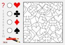 Juego del rompecabezas de la lógica ¿Cuántos pedazos de cada traje de la tarjeta puede usted encontrar? Cuente la cantidad, pínte Imágenes de archivo libres de regalías
