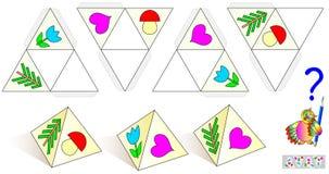 Juego del rompecabezas de la lógica Dibuje los objetos que falta en modelos de modo que todas las pirámides fueran idénticas Imagen de archivo libre de regalías