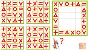 Juego del rompecabezas de la lógica Encuentre el modelo correcto y dibújelo así que todas las filas y todas las columnas tienen l Foto de archivo libre de regalías