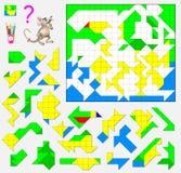 Juego del rompecabezas de la lógica Necesite encontrar el lugar correcto para cada detalle y pintarlos en colores correspondiente Imagen de archivo