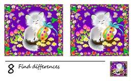 Juego del rompecabezas de la lógica para los niños Necesidad de encontrar 8 diferencias Página imprimible para el libro del enigm libre illustration