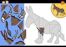 Juego del rompecabezas del burro de la granja de la historieta Imagen de archivo libre de regalías