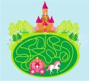 Juego divertido del laberinto - la princesa espera en un castillo Imagen de archivo libre de regalías