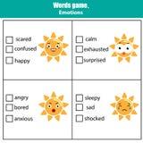 Juego educativo de la prueba de las palabras para los niños Tema de las emociones libre illustration