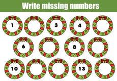 Juego educativo de las matemáticas para los niños Escriba los números que falta Tema de la Navidad Imágenes de archivo libres de regalías