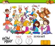 Juego educativo de las muchachas y de los muchachos de cuenta Imágenes de archivo libres de regalías
