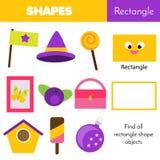 Juego educativo de los niños Aprendizaje de formas geométricas rectángulo Foto de archivo