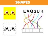 Juego educativo de los niños del rompecabezas de las palabras Ponga las letras en orden correcto Aprendizaje de vocabulario y de  ilustración del vector