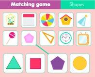 Juego educativo de los niños Hoja de trabajo a juego del juego para los niños Partido por forma Fotografía de archivo libre de regalías