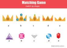 Juego educativo de los niños a juego Haga juego las coronas y los diamantes, aprendiendo actividad geométrica de los niños de las stock de ilustración
