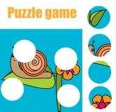 Juego educativo de los niños a juego Los pedazos del partido y terminan la imagen El rompecabezas embroma actividad Imágenes de archivo libres de regalías