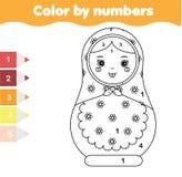 Juego educativo de los niños Página que colorea con la muñeca del matreshka Color por actividad imprimible de los números Fotografía de archivo libre de regalías