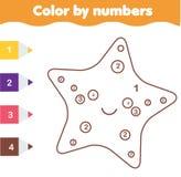 Juego educativo de los niños Página que colorea con sarfish lindos Color por números, actividad imprimible Fotos de archivo libres de regalías